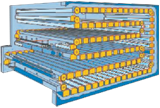 Space magnum : Multi loop horizontal Carousel for diffrent sizes of metal profiles.